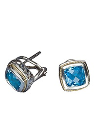 Effy Balissima Sterling Silver And 18 Kt. Yellow Gold Blue Topaz Earrings