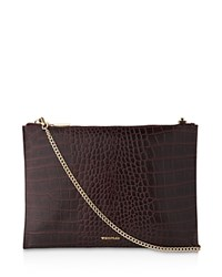 Whistles Shiny Croc Embossed Chain Clutch Oxblood