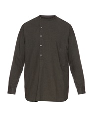 Lemaire Long Sleeved Cotton And Wool Blend Flannel Shirt