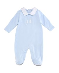 Kissy Kissy Pique Bunny Ears Collared Footie Playsuit Blue Size 0 9 Months