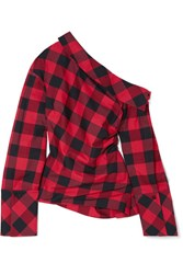 Hellessy Astrid One Shoulder Checked Cotton And Silk Blend Twill Top Red