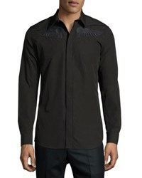 Givenchy Wing Embroidered Woven Shirt Black