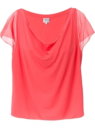 Armani Collezioni Draped Neck T Shirt Blouse Pink And Purple