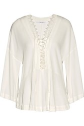 Iro Emilda Lace Up Cotton Blend Lace Trimmed Crepe Top White
