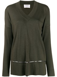 Snobby Sheep Sequinned Stripe Loose Fit Jumper Green