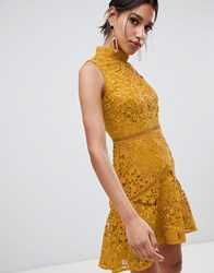 True Decadence Sleeveless High Neck Lace Skater In Mustard Yellow