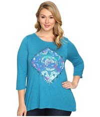 Lucky Brand Plus Size Mandala Watercolor Tee Turkish Tile Women's T Shirt Blue