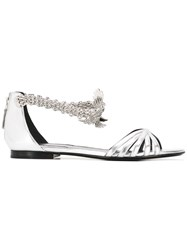Roberto Cavalli Snake Jewel Flat Sandals Grey