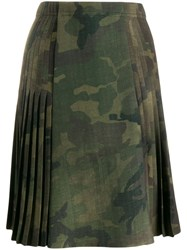 Ermanno Scervino Pleated Camouflage Print Skirt Green