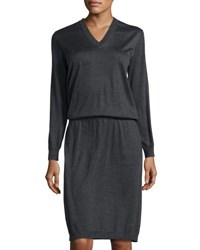 Brunello Cucinelli Cashmere Silk Long Sleeve Dress Dark Gray