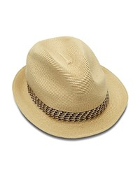 Ted Baker Contrast Band Straw Trilby Taupe