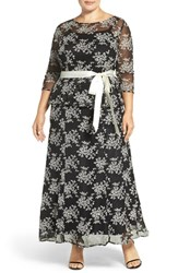 Chetta B Plus Size Women's Mock Two Piece Embroidered Peplum Gown Black Ivory