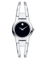 Movado Amorosa Stainless Steel Bangle Bracelet Watch Silver