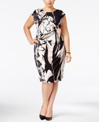 Connected Plus Size Floral Faux Wrap Sheath Dress Blush