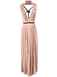 Rochas Pleated Open Back Dress Pink And Purple