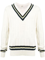 Kent And Curwen V Neck Striped Jumper White