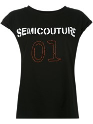 Semicouture 01 T Shirt Women Cotton M Black