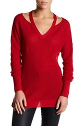 Abound Thermal Cold Shoulder Pullover Red