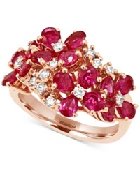 Effy Collection Effy Ruby 3 Ct. T.W. And Diamond 1 3 Ct. T.W. Flower Ring In 14K Rose Gold Red