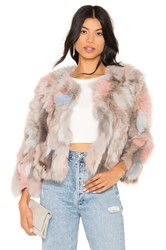 Jocelyn Fox Fur Jacket Gray