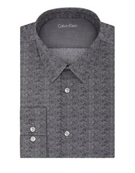 Calvin Klein Slim Fit Chevron Dress Shirt Black Pepper