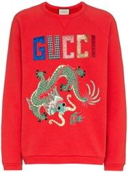 Gucci Dragon Patchwork Cotton Sweatshirt Red