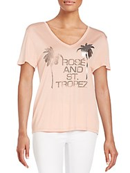 Halston Rose And St. Tropez Graphic Tee Glow Pink
