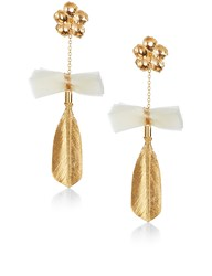 Mirit Weinstock Gold And Ivory Dipped Feather Earrings