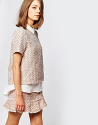 Sister Jane Pink Lemonade Double Layer Tweed Shirt Top Co Ord Nude