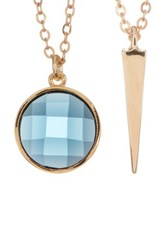 Melinda Maria Spike Pendant And Blue Topaz Necklace Set