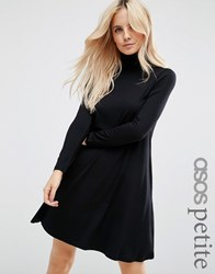 Asos Petite Swing Dress With Polo Neck And Long Sleeves Black