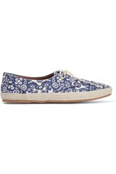 Tabitha Simmons Dolly Printed Canvas Espadrille Sneakers Bright Blue