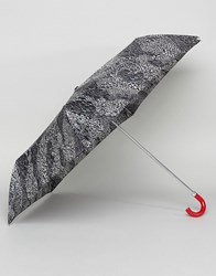 Lulu Guinness Superslim 2 Doodle Snake Skin Umbrella Black