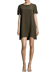 Leo And Sage Classic Silk Shift Dress Green