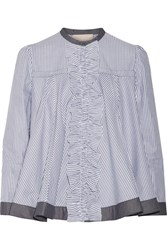 Roksanda Ilincic Frida Ruffle Trimmed Striped Cotton Poplin Blouse Anthracite