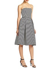 Nicholas Strapless Striped Ponte Dress Black White