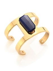 Taylor And Tessier H Cuff Blue Chalcedony Bracelet Gold Blue