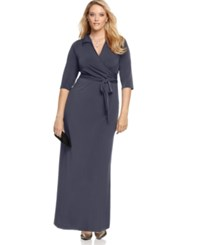 Ny Collection Plus Size Faux Wrap Maxi Dress Rich Grey