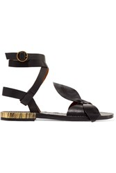 Chloe Exclusive Bow Detailed Embellished Leather Sandals Black