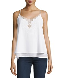Dex Crochet Layered V Neck Tank White