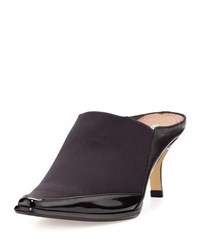 Donald J Pliner Lucki Square Toe Leather Trim Mule Black