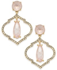 Kate Spade New York Gold Tone Crystal And Pink Stone Drop Earrings