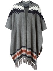 Paul And Joe Open Front Fringed Poncho Grey