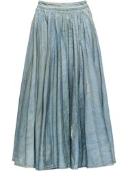 Miu Miu Pleated Denim Skirt Blue
