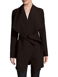 T Tahari Abbey's Draped Belted Coat Black