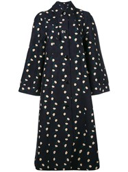 Paul Smith Oversized Printed Coat Women Cotton Cupro 38 Blue