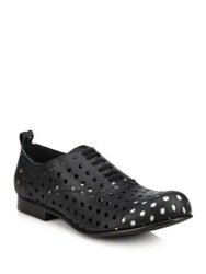 Comme Des Garcons Perforated Leather Oxfords Black