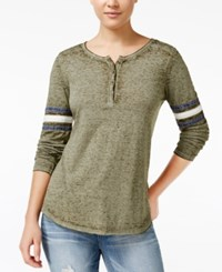 Hippie Rose Juniors' Henley Football T Shirt Olive Combo