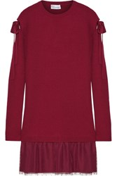 Red Valentino Redvalentino Ribbed Wool And Point D'esprit Tulle Mini Dress Merlot