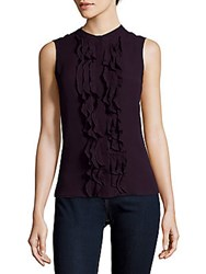 Karen Millen Ruffled Sleeveless Silk Top Aubergine